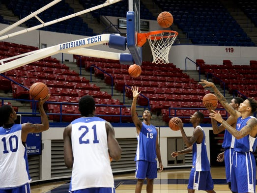 The Louisiana Tech men's basketball team practiced Wednesday at the Thomas Assembly Center in preparation for the Summer of Thunder exhibition tournament in the Bahamas, beginning this weekend.