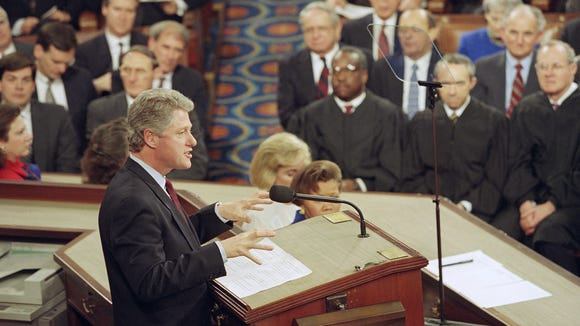 President Clinton speaks to a joint session of Congress