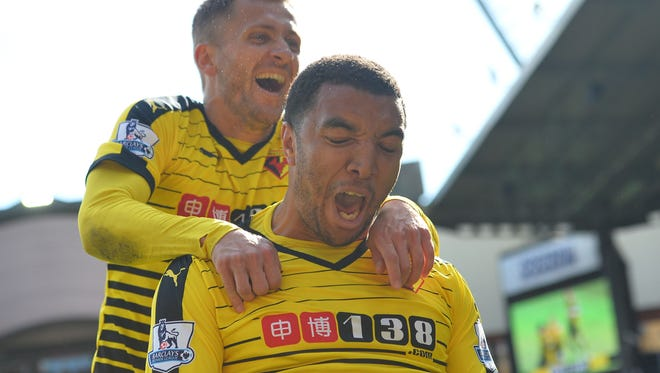Watford's Troy Deeney celebrates after scoring his second goal.