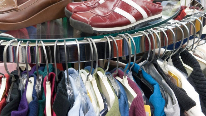 Used clothes and shoes at athrift store