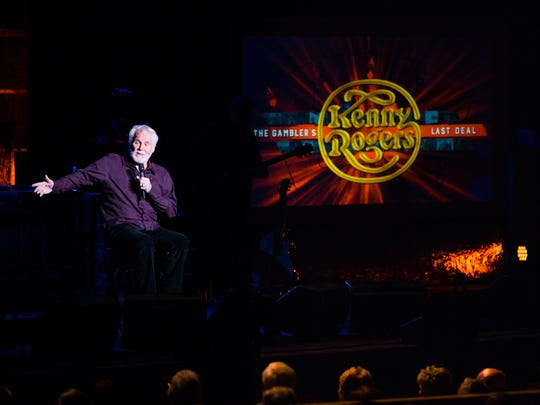 Kenny Rogers welcomes Linda Davis to the stage during his performance at Artis-Naples in North Naples on Monday, January 30, 2017. The concert walked the audience through his career chronologically.