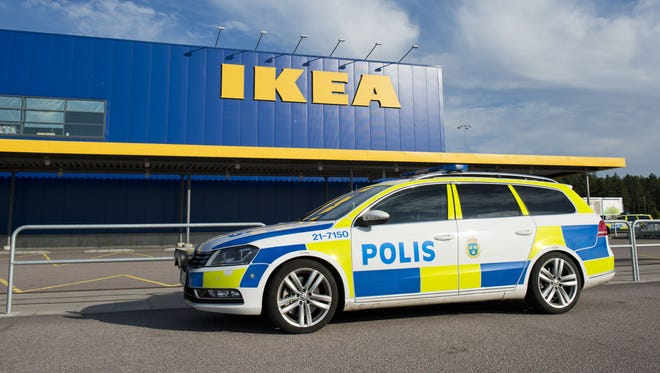 Police cars parked outside IKEA store in the city of Vaesteraas, about 100 km west of Stockholm on August 10, 2015. Two people were stabbed to death at the Ikea store in Vasteras and a third person was wounded, police said. AFP PHOTO/JONATHAN NACKSTRANDJONATHAN NACKSTRAND/AFP/Getty Images ORG XMIT: - ORIG FILE ID: 543249250
