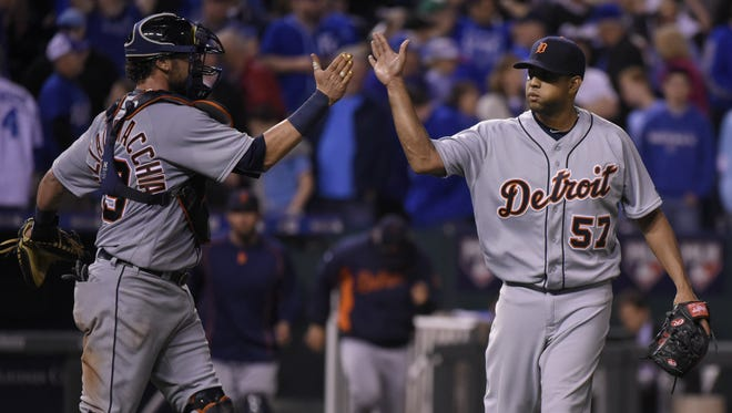 Tigers catcher Jarrod Saltalamacchia and closer Francisco Rodriguez celebrate a 3-2 win over the Royals at Kauffman Stadium  Wednesday.