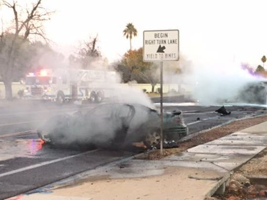 Dump truck collides with car in fiery Gilbert crash