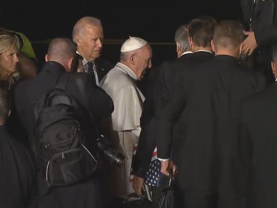 Vice President Joe Biden meets with Pope Francis right before the pope boards his plane back to Rome
