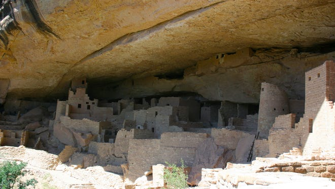 Between 500 and 1400, ancestral Puebloan people settled in villages throughout the Four Corners. Among these villages is Cliff Palace at Mesa Verde National Park in southwest Colorado.