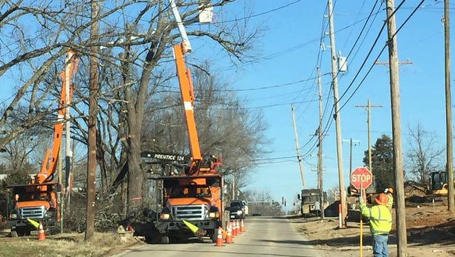 Utility work and tree trimming on South College Street today means motorists should be prepared to stop and expect brief delays.