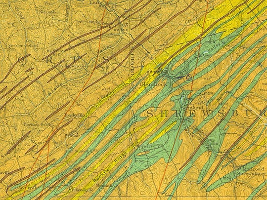 "Geologic map from Stose and Jonas's ""Geology and Mineral Resources of York County"" in 1939 showing the volcanic rock (green) in the Glen Rock-New Freedom area from which gold originates."