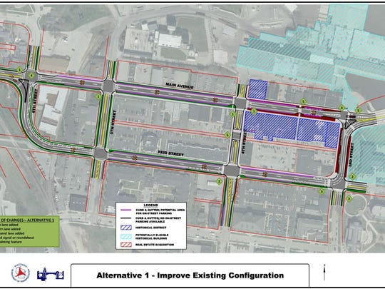 One of the two options being considered by the Wisconsin Department of Transportation for the planned reconstruction of State 32 on the west side of De Pere in 2022 is to improve existing conditions for the split highway on Main Avenue and Reid Street downtown with enhanced features to improve traffic flow and pedestrian safety.