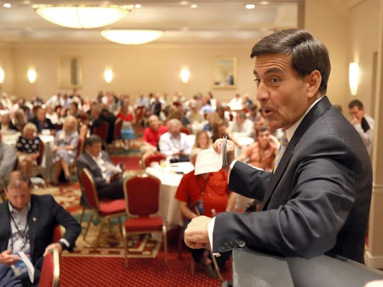 Republican National Committeeman Bill Palatucci speaks during the New Jersey delegation breakfast at the Doubletree Hotel in Beachwood, OH, Monday July 16, 2016.