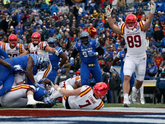 Iowa State Cyclones tight end Dylan Soehner (89) celebrates