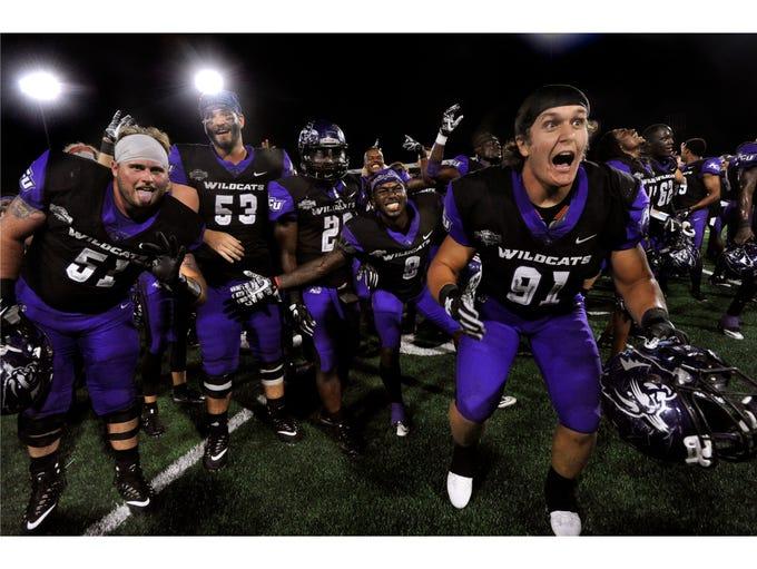 Abilene Christian University players celebrate their