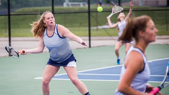Delta faced off against Yorktown during their sectional matches at Delta High School Friday, May 18, 2018.