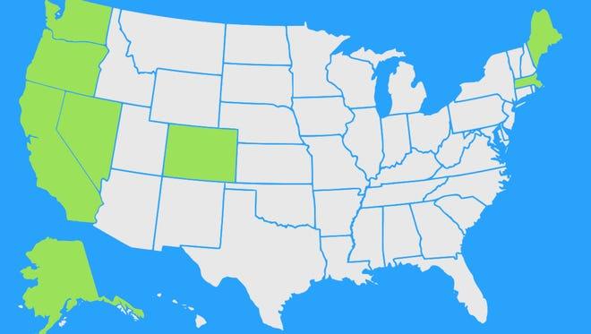 California, Nevada, Massachusetts and Maine are joining Colorado, Washington, Oregon and Alaska in legalizing recreational marijuana.