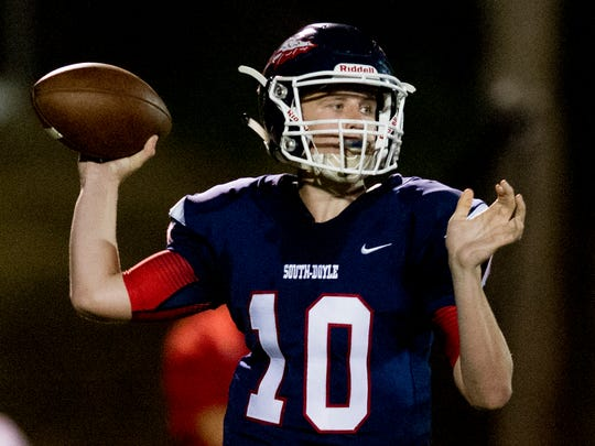 South Doyle's Mason Brang (10) lines up a pass during a game between South Doyle and Halls at South Doyle High School in Knoxville, Tennessee, on Friday, October 6, 2017.