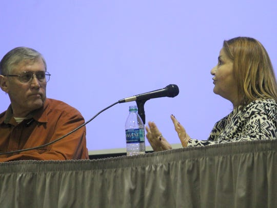 Robert Rentschler and Alicia Rios, both running for District 3, debate about city issues during the event.
