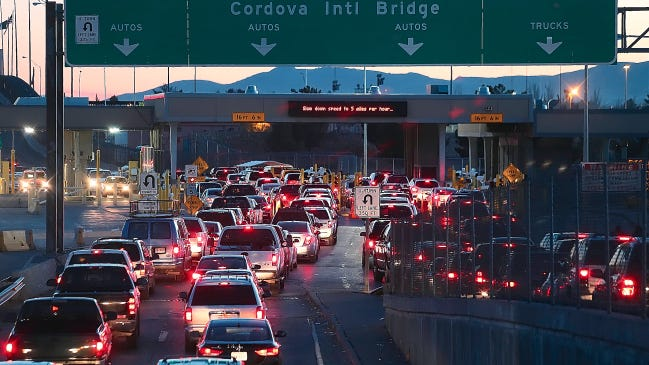 Vehicles wait to enter Mexico at the Bridge of the Americas International crossing. According to the Chihuahua Tourism Department, 1,007,797 national and international tourists visited the entire state during Holy Week and left almost $60 million in revenue in the state.