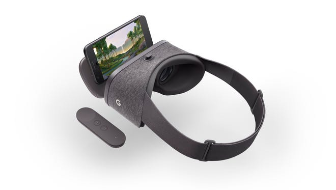 A Pixel phone fits into the Daydream View headset.