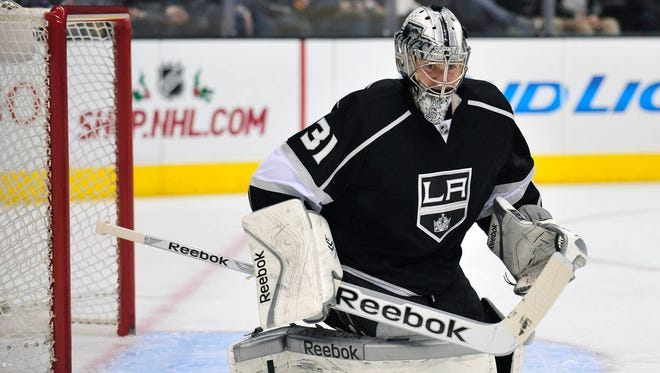 Los Angeles Kings goalie Martin Jones blocks a shot against the San Jose Sharks during the second period at Staples Center.