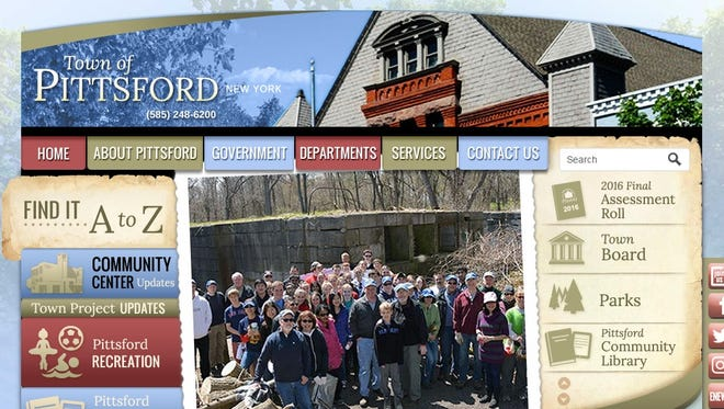 A screenshot of the Pittsford website home page.