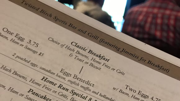 The breakfast menu at the new Twisted Birch Sports Bar & Grill at Turtle Creek in Rockledge pays homage to Jimmies, the spaces' former occupant.