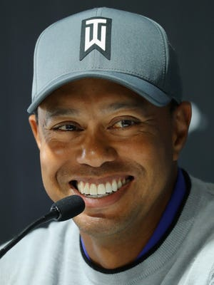 Tiger Woods answers questions during a news conference Tuesday for the Genesis Open at Riveria Country Club in Pacific Palisades.