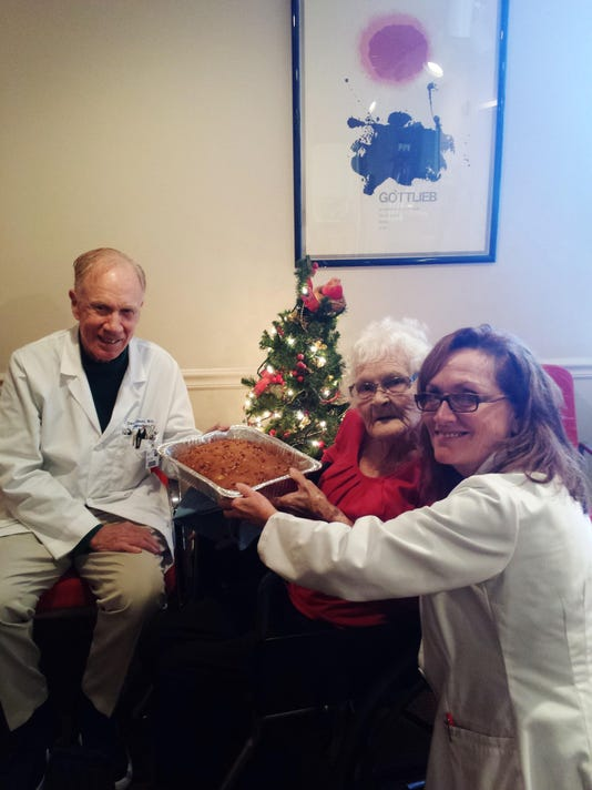 2015-12-08 15.27.31Cleo Johnson brings her Apple Pie Dump Cake to Dr. Casey