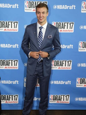 Luke Kennard poses for photos on the red carpet before the NBA draft Thursday, June 22, 2017 in New York.
