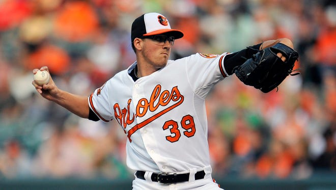 Orioles starting pitcher Kevin Gausman pitches in the first inning against the Angels at Oriole Park at Camden Yards.
