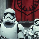 """Stormtroopers gather in a scene from the new film, """"Star Wars: The Force Awakens."""""""