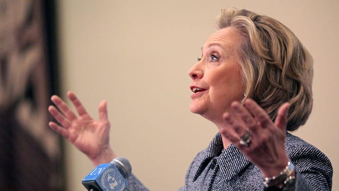 Hillary Rodham Clinton speaks to the media about allegations of an improperly used e-mail account on March 10, 2015.