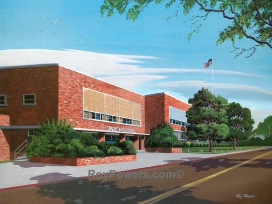 Roy Powers' painting of Sparks High School.