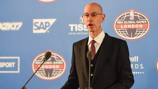 NBA commissioner Adam Silver speaks at a press conference before a NBA game between the Indiana Pacers and the Denver Nuggets at the O2 Arena.