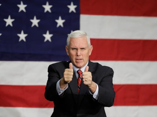 Indiana Gov. Mike Pence speaks at a campaign rally