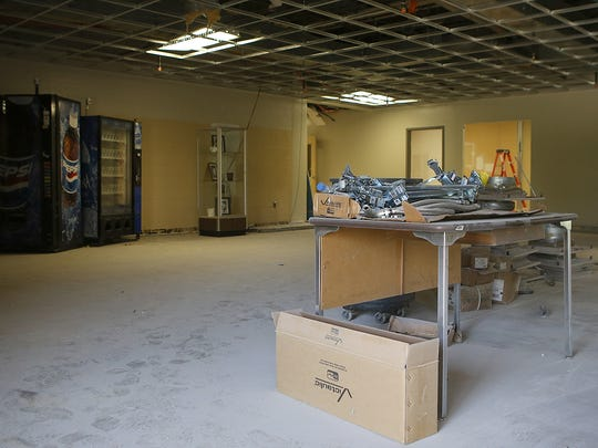 The foyer area for Jackson Central-Merry Early College High, the former Jackson Central-Merry annex building, is seen during renovations on Thursday, June 9, 2016.