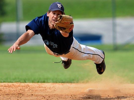 York Township second baseman Andy Freeburger makes