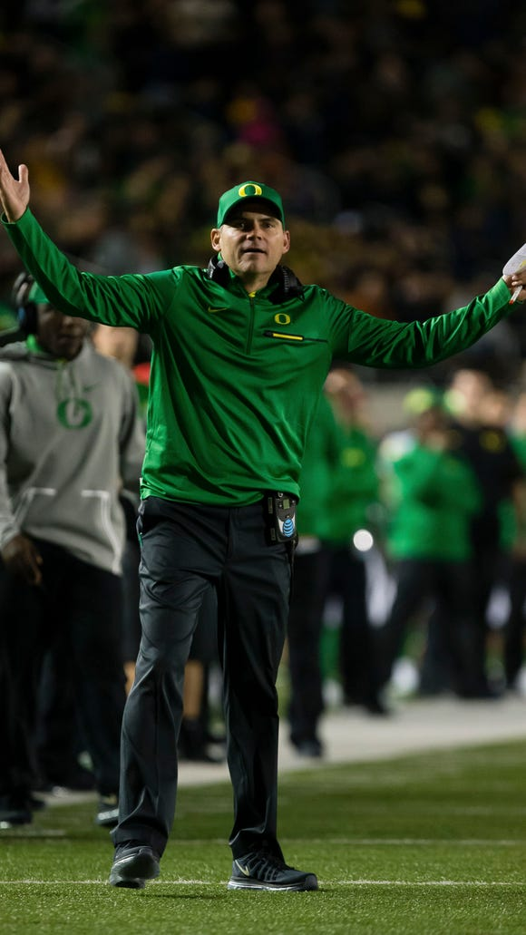 Oct 21, 2016; Berkeley, CA, USA; Oregon Ducks head coach Mark Helfrich reacts on the sideline against the California Golden Bears during the third quarter at Memorial Stadium. The California Golden Bears defeated the Oregon Ducks 52-49 in overtime. Mandatory Credit: Kelley L Cox-USA TODAY Sports