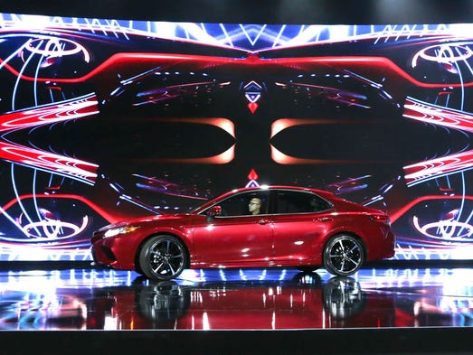 The new 2018 Toyota Camry XSE is seen on the stage