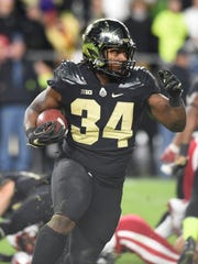 Richie Worship with a carry against Nebraska Saturday, October 28, 2017, at Ross-Ade Stadium. Purdue lost a heartbreaker to Nebraska 25-24.