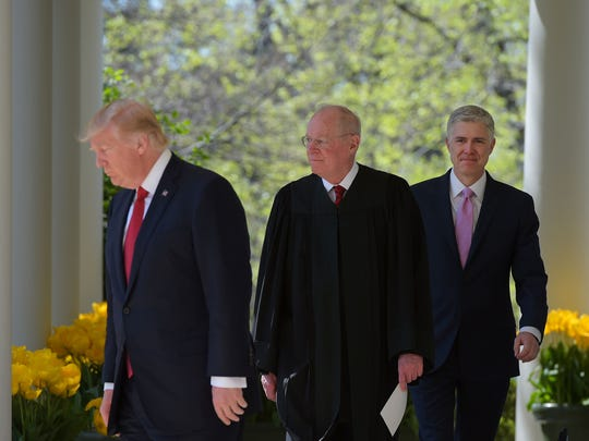 The upcoming Supreme Court term will hinge a lot on President Trump and Justices Anthony Kennedy and Neil Gorsuch, who appeared together at Gorsuch's swearing-in last April.