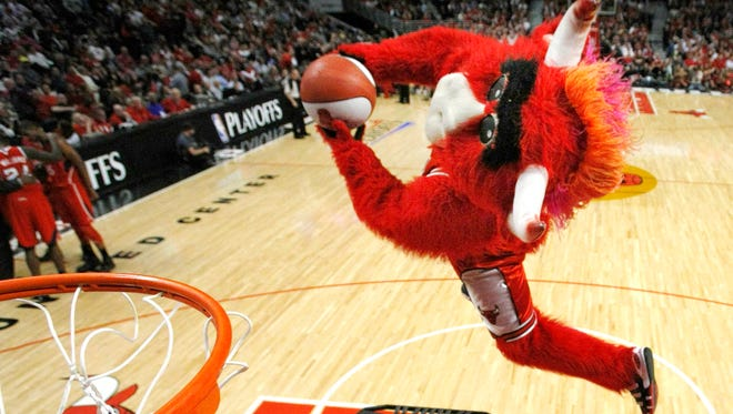 Chicago Bulls' mascot Benny the Bull performs during halftime in Game 2 of the NBA Eastern Conference semifinal series.