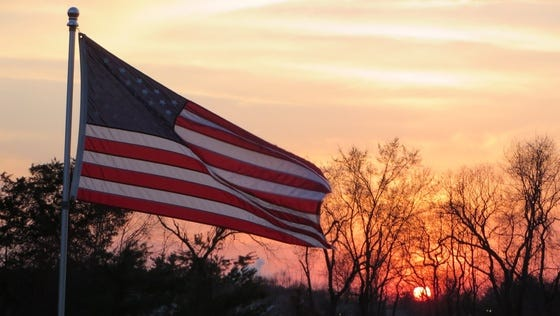 USA flag blowing in the sunset in Royersford, Pa.