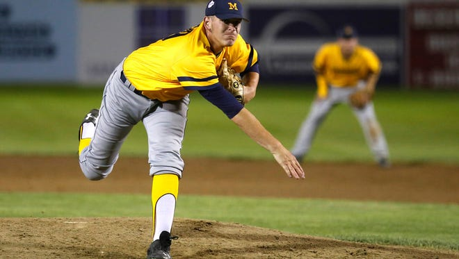 Midland Redskins' Rodney Hutchison Jr. pitches against the Southern California Renegades, Wednesday, Aug. 5, 2015, during Game 19 of the Connie Mack World Series at Ricketts Park in Farmington.