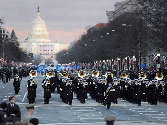 The United States Navy Band marches on Pennsylvania Avenue during military support for the 57th presidential inauguration on Jan. 21, 2013, in Washington, D.C.