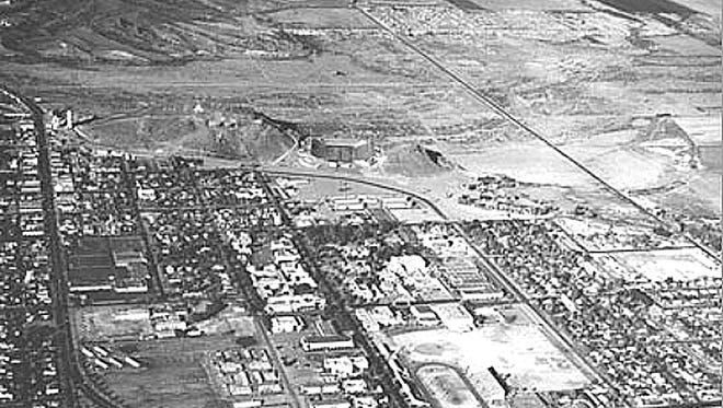 Construction of Gammage Auditorium hadn't yet started when Paul W. Pollock published his book celebrating Arizona's first 50 years of statehood. The iconic landmark would soon spring up on the vacant land along the Apache curve in the lower left corner of the photograph.