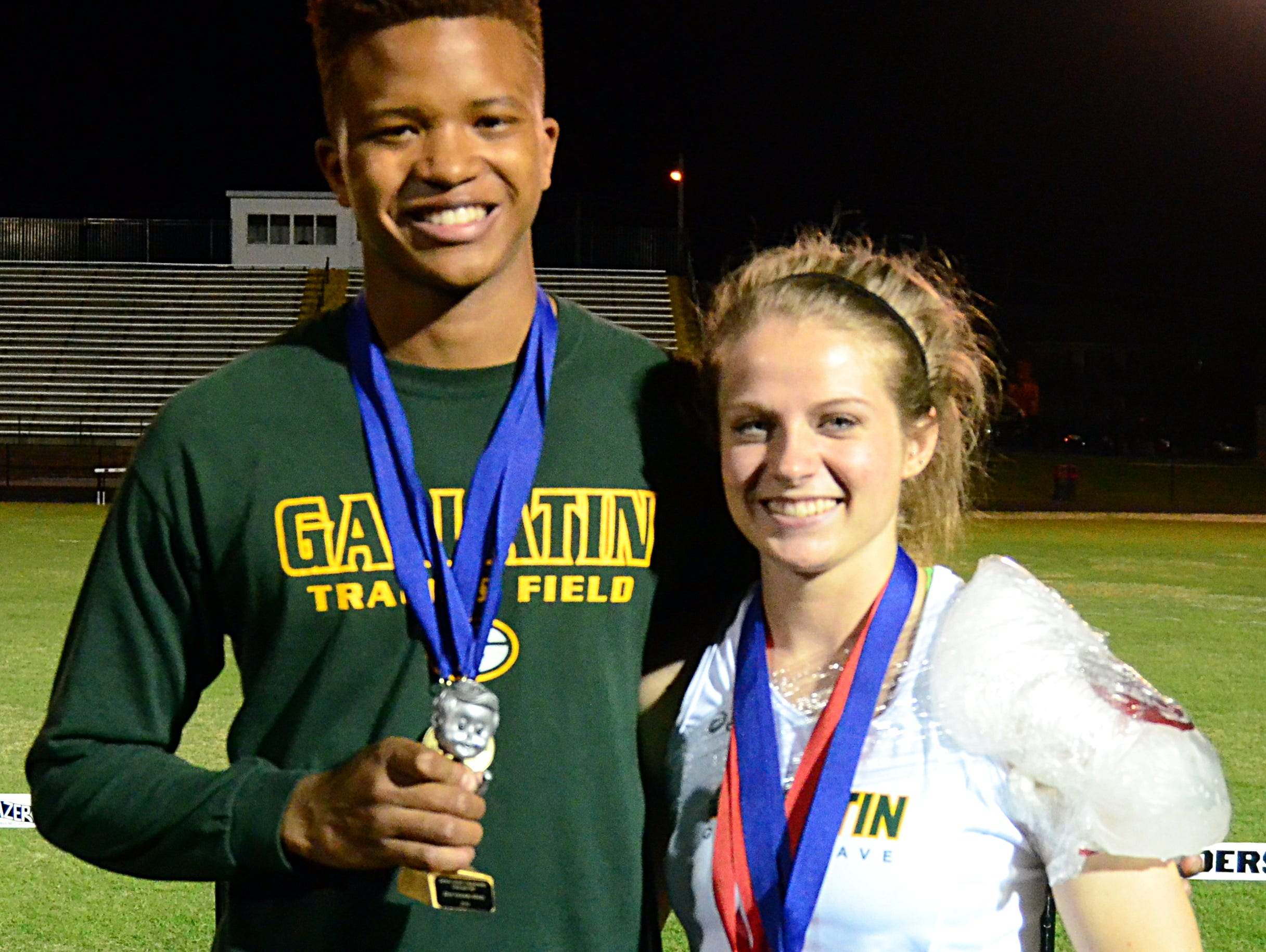 Gallatin High junior Edrico Briscoe (left) and senior Kelsey Warren won Most Valuable Athlete honors at the 14th annual Sumner County Track and Field Championship Meet, the championship for Sumner County public schools. Warren won the award for the second straight year.