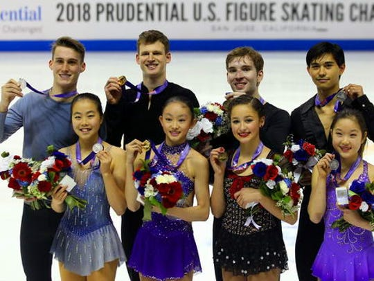 Sarah Feng, bottom left, and TJ Nyman, top left, skate