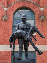 The Rainbow Soldier statue in front of Union Station