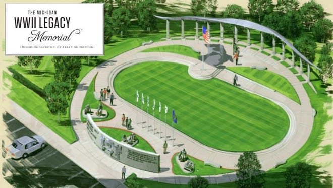Artist rendering of the proposed World War II memorial to be build in Royal Oak's Veterans Park.