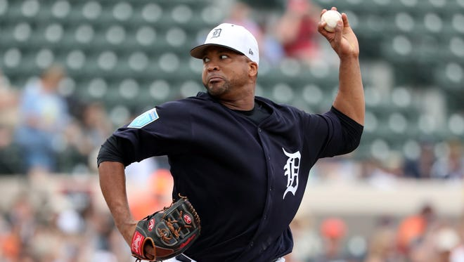 Mar 26, 2018; Lakeland, FL, USA; Detroit Tigers starting pitcher Francisco Liriano (38) throws a pitch during the first inning against the Tampa Bay Rays at Publix Field at Joker Marchant Stadium. Mandatory Credit: Kim Klement-USA TODAY Sports